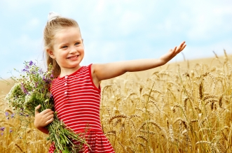 cute-little-girl-wheat-field-bouquet-flowers-smiling-happiness-child-children-childhood